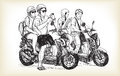 Sketch of touring motorbike in city, look a map on mobile phone,