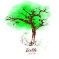 Sketch tree graphic hand drawn vector engraving doodle isolated on white background, watercolor green backdrop, template