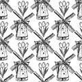 Sketch tulip and windmill, vector  seamless pattern Royalty Free Stock Photo
