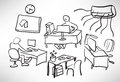 Sketch of a typical day at the office Stock Image