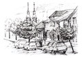 Sketch of urban landscape in Serbia. City street with private houses, church, cars and trees