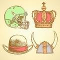 Sketch viking helmet, crown, football helmet and hat Royalty Free Stock Photo
