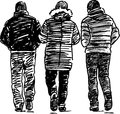 Sketch of the walking men vector image three striding Stock Images