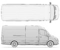 Sketch white van isolated render on a background Royalty Free Stock Photos
