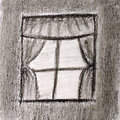 Sketch of window with curtains Royalty Free Stock Images