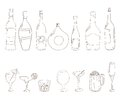 Sketch of wine bottles tumblers set for alcohol drinks and coctails martini cognac cherry beer champagne grappa glasses Stock Images