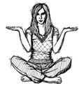 Sketch woman in lotus pose with open hands Stock Photo