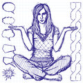 Sketch Woman In Lotus Pose With Open Hands Royalty Free Stock Image