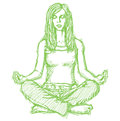 Sketch woman meditation in lotus pose Royalty Free Stock Images
