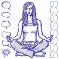 Sketch Woman Meditation In Lotus Pose Stock Photography