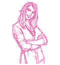 Sketch young business woman with crossed hands Royalty Free Stock Photo