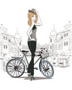 Sketch of young fashion girl with a bicycle in the city Royalty Free Stock Photo