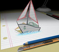 Sketch your dream (boat) Stock Images