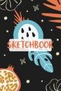Sketchbook cover template. Vector fruits illustration