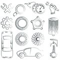 Sketched car parts set big of part icons pencil line style Stock Photography