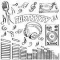 Sketched deejay symbols Stock Image