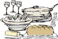Sketched dinner dining food cooking pot casserole Royalty Free Stock Photo
