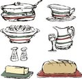Sketched dinner dining food cooking pot casserole Stock Photo