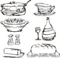 Sketched dinner dining food cooking pot casserole Stock Photos