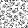 Sketched rose and leaves seamess pattern