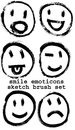Sketched smiley emoticons set of six black brush sketch isolated on white background Stock Photography