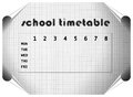 Sketched timetable illustrated school sketch on squared paper with curled corners Royalty Free Stock Image
