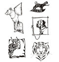 Sketches of animals - dogs and wild cats Stock Photo