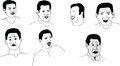 Sketches about emotions of a man like laughing sadness wonder contempt anger Stock Image