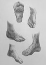 Sketches of feet show it is a pencil drawing Royalty Free Stock Photography