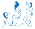 Sketches of female silhouettes three in different poses Stock Images