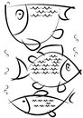 Sketches of fish isolated on white background Royalty Free Stock Photo
