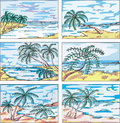Sketches of landscapes with palm trees Stock Image