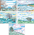 Sketches of landscapes with trees Royalty Free Stock Images