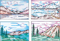 Sketches of mountain landscapes Royalty Free Stock Photos