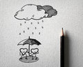 Sketching for heart protect the rain concept Royalty Free Stock Photo