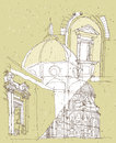 Sketching historical architecture italy basilica saint mary flower florence tuscany illustration eps mode Royalty Free Stock Images