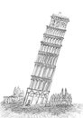 Sketching pen leaning tower pisa tuscany Royalty Free Stock Photos