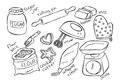 Sketchy baking stuff white background Royalty Free Stock Image