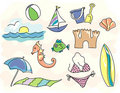 Sketchy Beach Icons Royalty Free Stock Photo