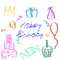 Sketchy birthday icons Stock Photo