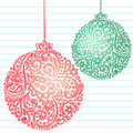 Sketchy Christmas Ornaments Notebook Doodles Stock Photo
