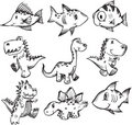 Sketchy Doodle Animal Set Stock Photography