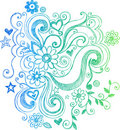 Sketchy Doodle Flower and Swirls Illustration Royalty Free Stock Photography