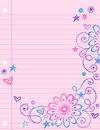 Sketchy Doodles on Notebook Paper Vector Royalty Free Stock Photo