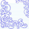Sketchy Doodles Swirls on Notebook Paper Vector Royalty Free Stock Image