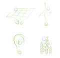 Sketchy eco icons solar panel wind turbine lightbulb and wheat Royalty Free Stock Images