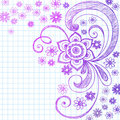 Sketchy Flower Doodles on Notebook Paper Vector Stock Photo