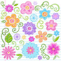 Sketchy Flowers Notebook Doodles Vector Set Royalty Free Stock Photography