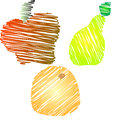 Sketchy fruits apple pear orange three images of fruit in a style a red a green and an Stock Photography