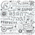 Sketchy good grades elements des great job super student praise phrases back to school notebook doodles hand drawn illustration Royalty Free Stock Photos